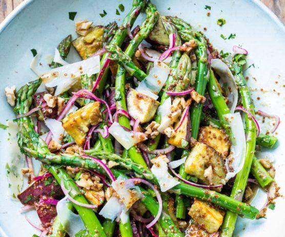 Asparagus, kumara, walnut and parmesan salad by Nadia Lim   NadiaLim.com