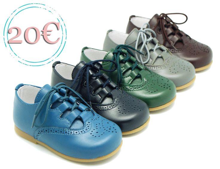 Tienda online de calzado infantil Okaaspain. Zapato inglés de piel con picados. Calidad al mejor precio hecho en España.
