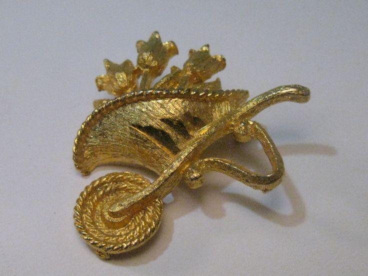 Vintage Gold Tone Wheelbarrow & Flowers Brooch, Post Mid-Century, 1.5 #Unsigned