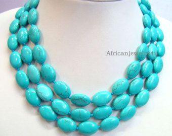 Livraison gratuite de 51 pouces à la main collier Turquoise, Turquoise Collier, collier de demoiselle d'honneur, cadeau de mariage, déclaration collier--FL0505
