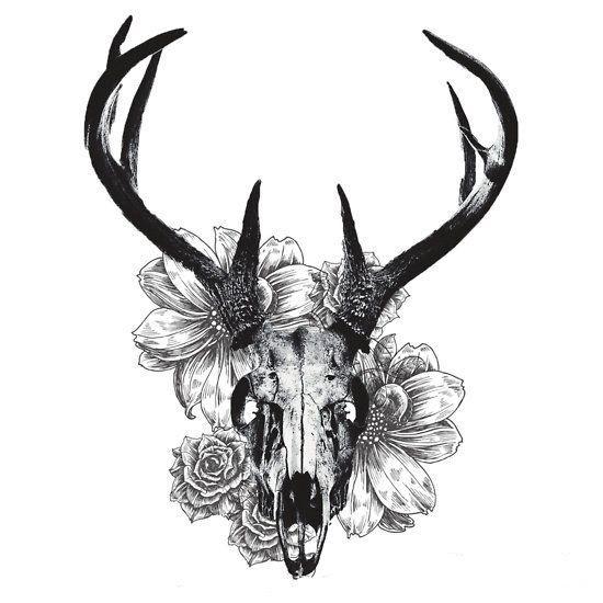 Crâne de cerf et fleurs - tatouages temporaires