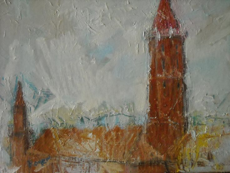 This is old castle in Legnica from 13th century  painting an oil on canvas 2017 by RP