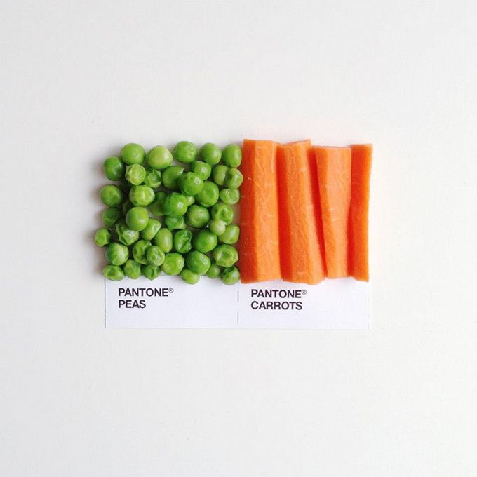 An instagram project by Minneapolis-based graphic designer and illustrator David Schwen pairs perfect Pantone food matches. In this series, classic food combinations create their own palette of Pantone colors.