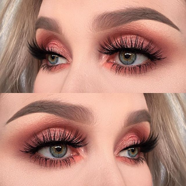 I used @toofaced sweet Peach palette ( shadows: candied peach, Bellini and a…