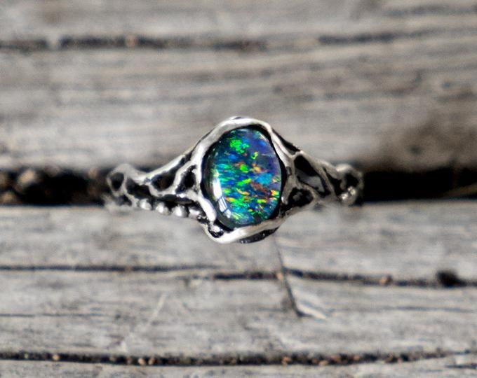 Australian Opal Ring Sterling Silver Twig Tree Bark Nature Etsy Australian Opal Ring