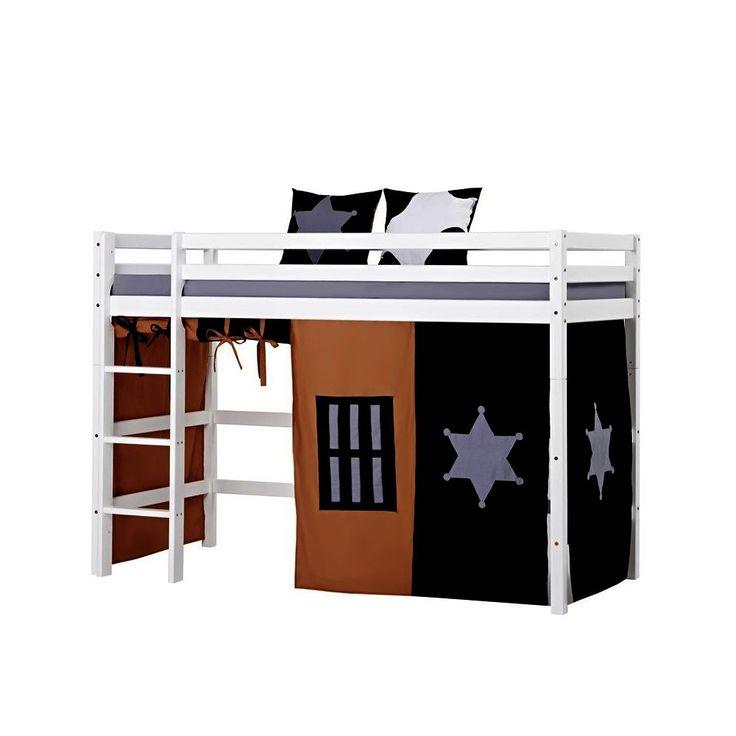 Elegant Hoppekids Basic Cowboy Bett mittelhoch mit Vorhang Kiefer wei Jetzt bestellen unter https moebel ladendirekt de kinderzimmer betten hochbetten uid ud
