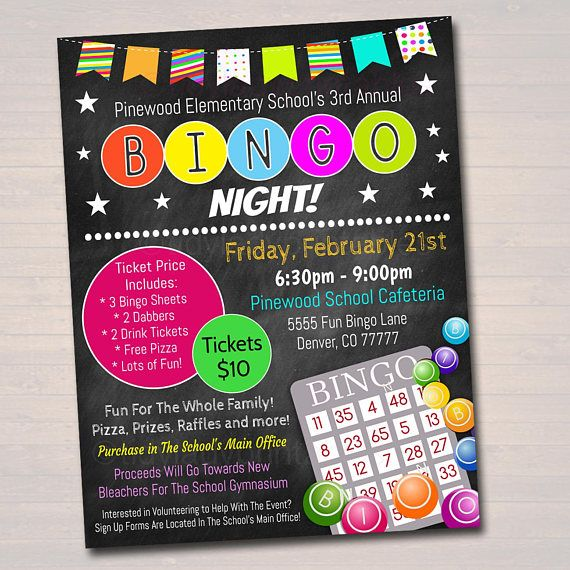 BINGO NIGHT EVENT FLYER This printable BINGO NIGHT flyer is yours to keep forever to use year after year! A great value for your school, church, Community Center, PTA, parent appreciation, fundraising events and more! *Designed for Printing on 8.5x11 paper *Edit text and images
