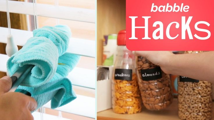 Don't let a messy house stress you out — these easy cleaning hacks will save you time and energy when you're tidying up. Use kitchen tongs to clean dusty blinds, store water bottles with an old shoe organizer, or even turn old coffee creamer bottles into nifty snack dispensers! Watch for the full directions for these simple hacks.