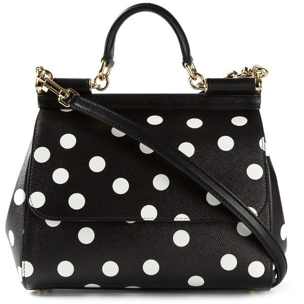 Dolce & Gabbana 'Sicily' tote (4.665 BRL) ❤ liked on Polyvore featuring bags, handbags, tote bags, purses, black, handbags totes, tote purses, top handle handbags, polka dot handbags and tote bag purse