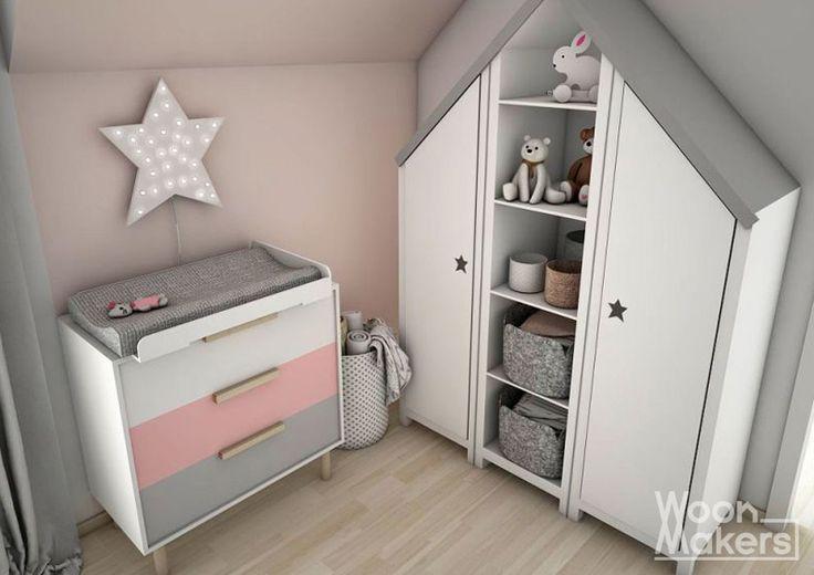 Frisse, schattige babykamer met een vleugje van licht roze. Little pink star by Woonmakers
