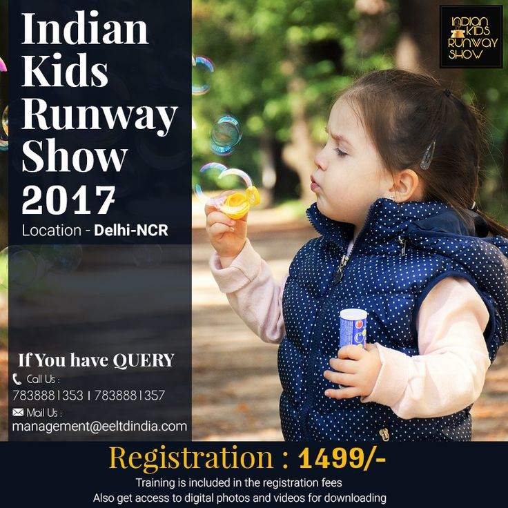 """Dear Parents, India's first dynamite kids runway show """"IKRS"""" is going to be held on 22 July,2017.If you think your kids are appropriate for this, then make your kid feel like a celebrity in the upcoming kids runway walk 2017   Season-1 Registration Open : http://eeltdindia.com/ https://www.facebook.com/Indiankidsrunwayshow/ Call us : 7838881353,7838881357 Mail us : management@eeltdindia.com Kids Registration Fees Rupees : 1499/- Age Criteria – 3 to 13 years #IKRS #fashionshow…"""