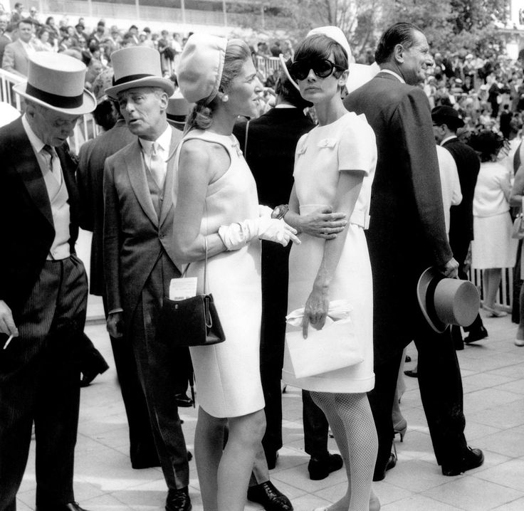 Audrey Hepburn and Baroness Marie-Helene de Rothschild at Longchamp racecourse. Paris, June 20, 1966.