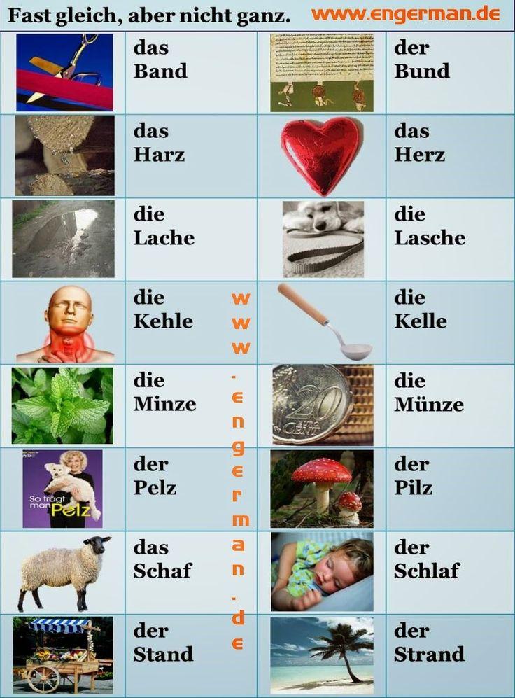 German vocabulary - Similar sounding words