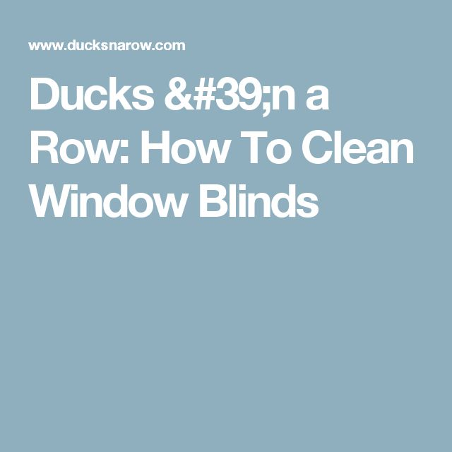 Ducks 'n a Row: How To Clean Window Blinds
