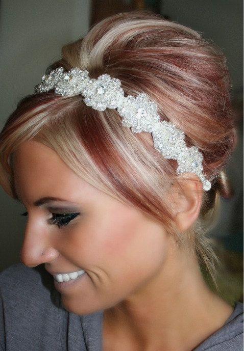Lilly- Floral Rhinestone Headband, Wedding Headpiece, Ribbon, Crystal, Accessories, Bridal, Wedding, Hair Accessory, Bridesmaid. $42.95, via Etsy.