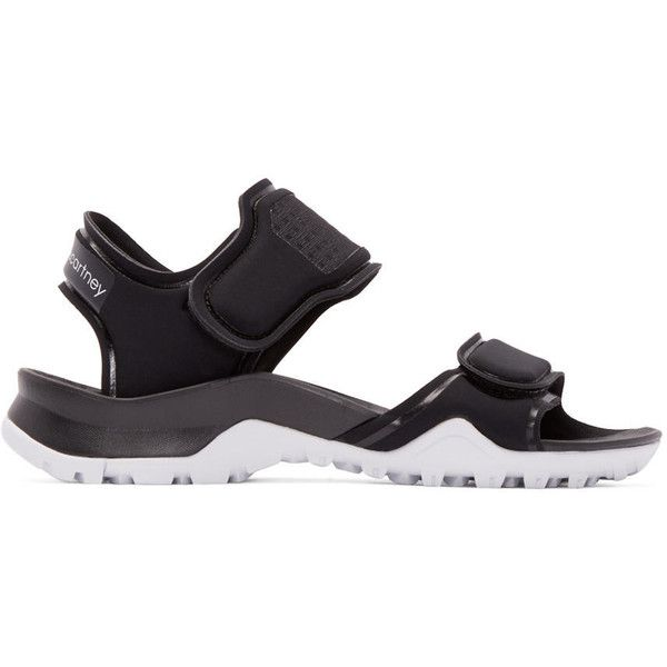adidas by Stella McCartney Black Neoprene Hikira Sandals (1.344.475 IDR) ❤ liked on Polyvore featuring shoes, sandals, black flat shoes, strap sandals, velcro strap sandals, adidas shoes and strappy sandals