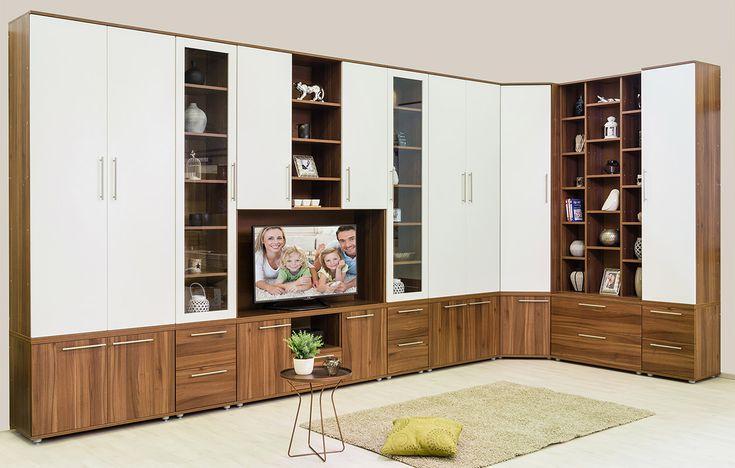 Grande szekrénysor dijoni dió színben fehér ajtókkal.
