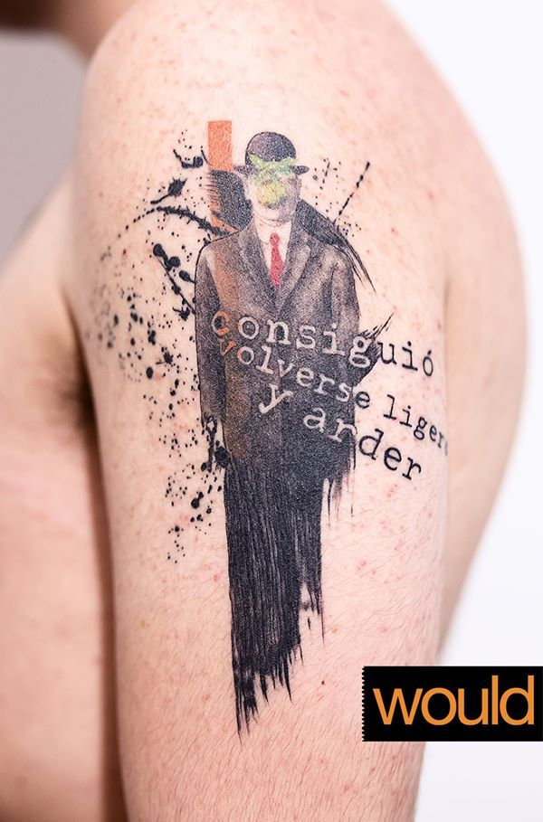 Consiguió volverse ligero y arder. // He managed to become lighter and burn. #tattoo #man #phrase #suit #elegant #serius #stains #arm #line #greenface #cool