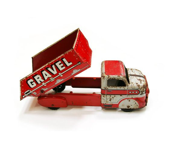 Too cute: Rare Vintage Marx Tin Sand and Gravel Dump Truck toy. Must've been a happy little boy who owned this!
