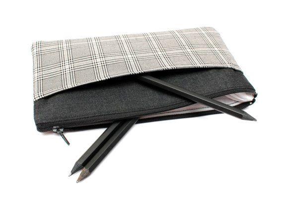 Sale! Modish Monochrome Vintage Plaid Pencil case/ Makeup Bag 20cm x 11.5cm With Two Pockets and One Zipper