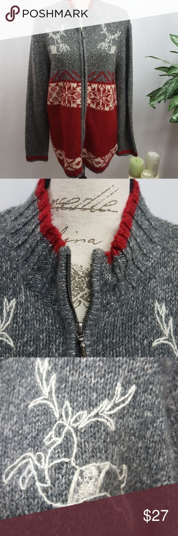 Venezia Plus Size Christmas Sweater 18/20 In excellent used condition.  Christmas Sweater with embroidered reindeer. Zip front closure. Soft and cozy! By Venezia  Size 18/20. Venezia Sweaters