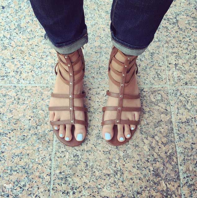 Zoya Blu Nail Polish in Brown Gladiator Sandals
