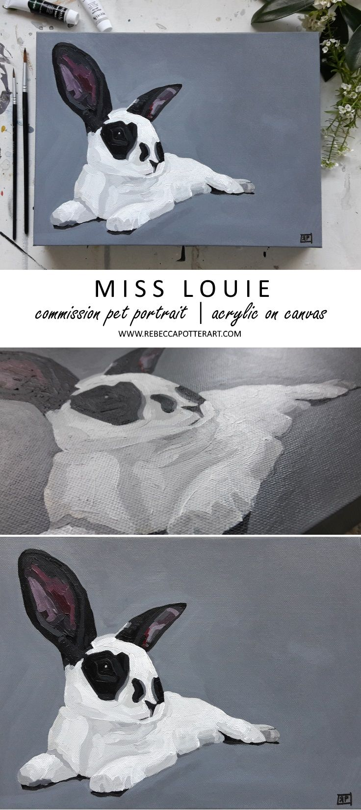Commission Pet Portrait. Sweet Bunny Miss Louie Acrylic on Canvas Painting 12 x 9 by Rebecca Potter. August 2017. [SOLD]