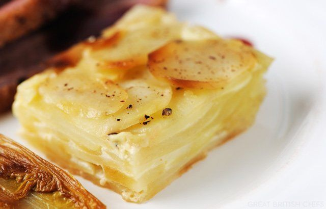 Potato dauphinoise - Josh Eggleton ~ You can serve dauphinoise with a range of meats....never heard of them but look good to me!