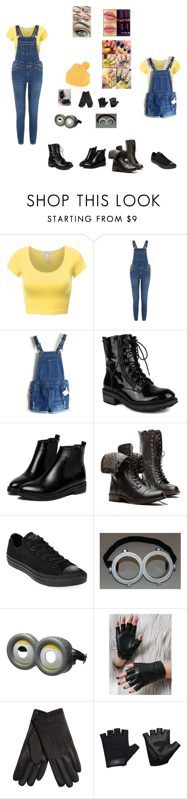 """Minion Costume"" by brendalcorrea on Polyvore featuring Converse, Isotoner, Casall, Dondup and NYX"