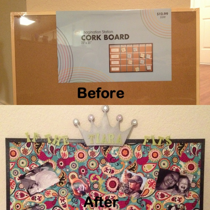 Bulletin board for the princess princess board for Cork board inspiration