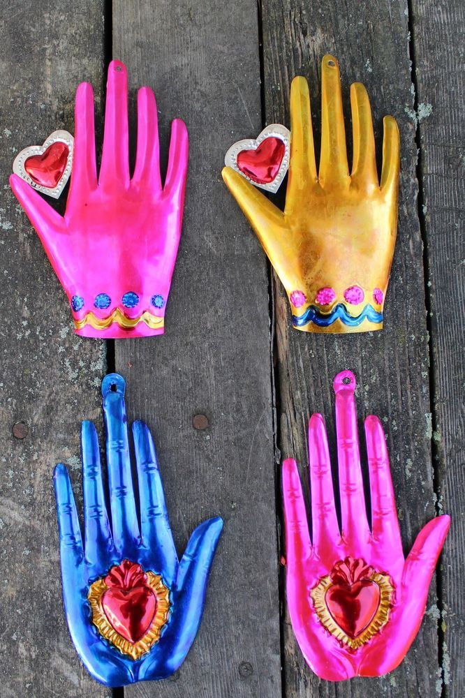 Mexican Tin Milagros - SOLD SEPERATELY - Hands & Hearts Colorful Folk Art Mexico