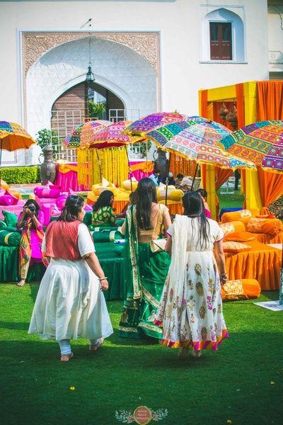 Rajasthani umbrellas, funky mehendi theme