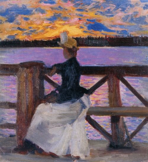 Marie Gallen at the Kuhmoniemi bridge ~ Akseli Gallen-Kallela ~ (Finnish: 1865-1931)