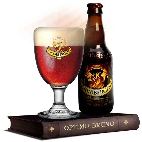 GRIMBERGEN OPTIMO BRUNO / Donker amberkleurig bier dat oorspronkelijk als Paasbier werd gebrouwen, maar nu het hele jaar gedegusteerd kan worden.  Smaak: De smaak van Grimbergen Optimo Bruno is zoet-bitter en uitgesproken volrond. De grote densiteit geeft dit bier een volle, krachtige en alcoholische afdronk. De dubbele gisting zorgt voor een perfecte balans tussen hop en mout. Dit is een degustatiebier voor echte kenners. (Alc.10 % vol.)