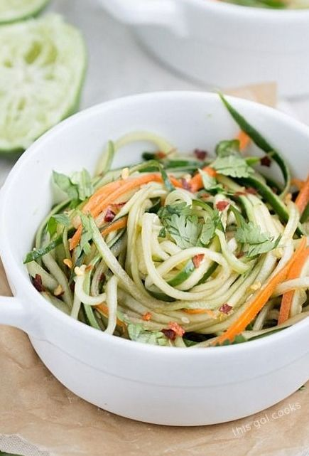Cucumber Noodles with Spicy Sesame Soy Dressing. Low carb and only around 100 calories per serving!