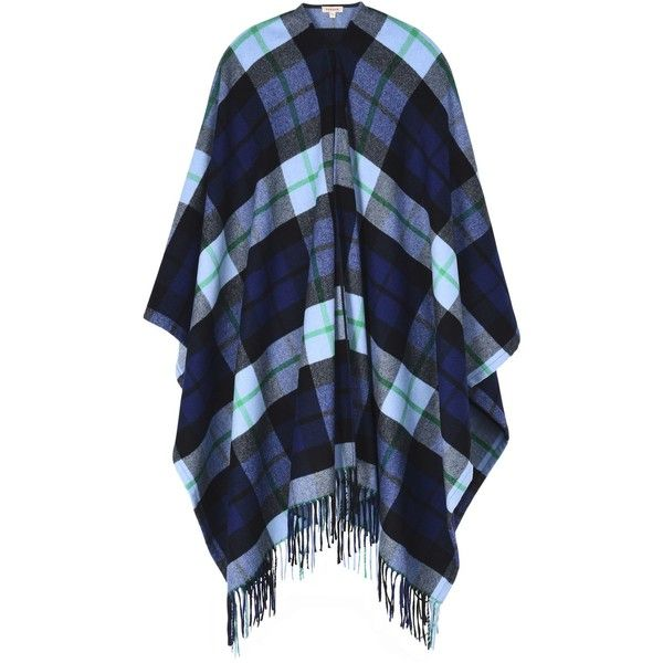 P.a.r.o.s.h. Capes & Ponchos ($520) ❤ liked on Polyvore featuring outerwear, dark blue, style poncho, wool cape poncho, wool cape coats, blue cape and blue cape coat