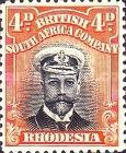 British South Africa Company, 1.9.1913, King George V., No.130, 4P reddish orange/black. Stamped 5,49 USD. Unused 10,98 USD.