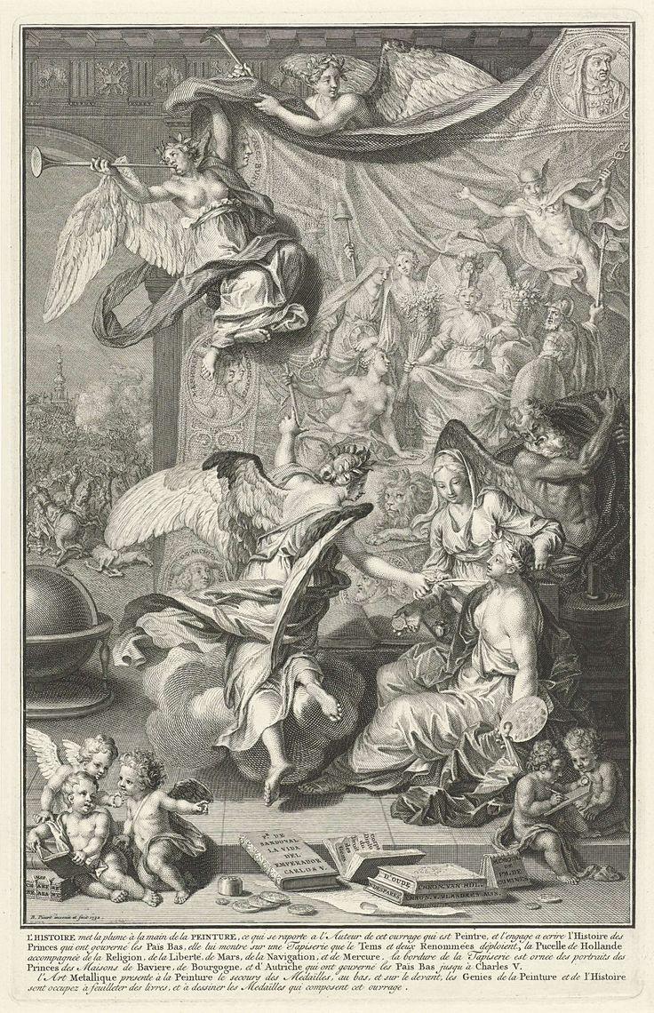Bernard Picart   Geschiedenis geeft de Schilderkunst een schrijfveer om de geschiedenissen van de Nederlandse vorsten op te tekenen, Bernard Picart, 1732   Allegorische voorstelling waarin Geschiedenis de Schilderkunst een schrijfveer in de hand geeft om de geschiedenissen van de Nederlandse vorsten op te tekenen. Ze wijst op een tapijt waarop de Nederlandse Maagd, vergezeld door Vrijheid, Geloof, Thetis, Mars en Mercurius en langs de randen medaillons waarin de portretten van Nederlandse…