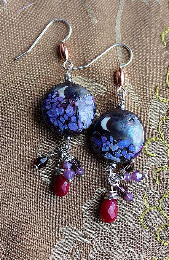 Purple Night Sky Lampwork Dangles by seespotrun5 on Etsy, $34.00