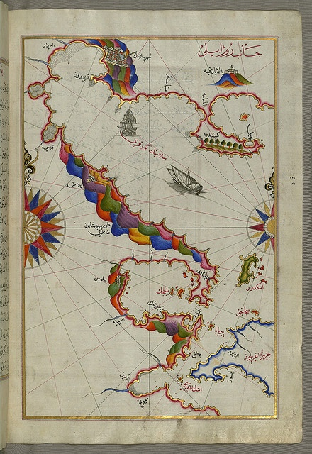 "Illuminated Manuscript Map of the Bay of Salonica  and the western coastline, from Book on Navigation, composed in 932 AH / 1525 CE and dedicated to Sultan Süleyman I (""The Magnificent""),"