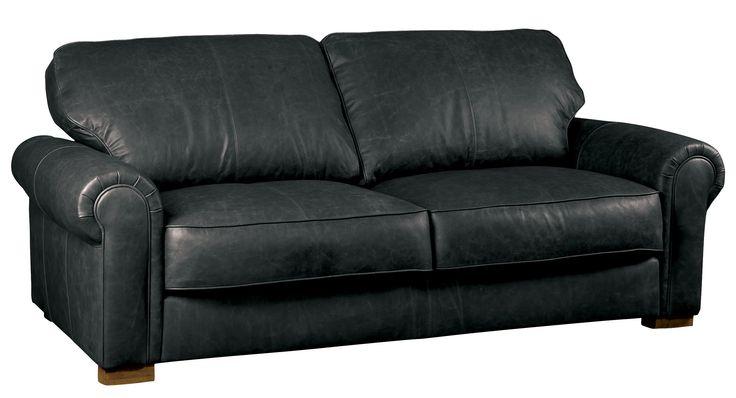 Edward leather sofa in vintage black