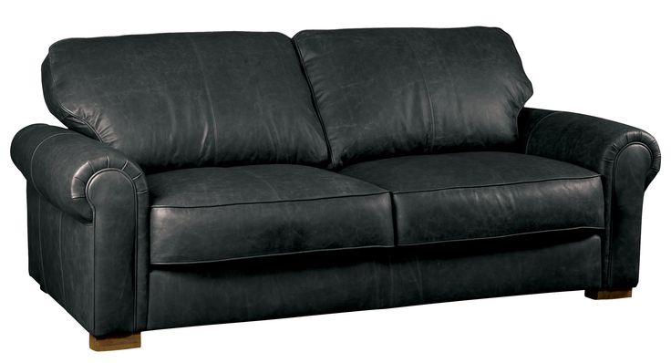 Edward leather sofa in vintage black