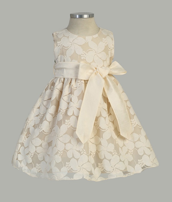 Infant Flower Embroidered Lace Dress with Removable Sash - Infant & Toddler Flower Girl Dresses