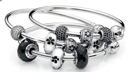 Simply Stunning!  Black, white and sparkle charms create an elegant design.