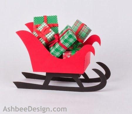 Renos y trineo con los regalos de Navidad de papel.  Plantillas (1) (450x389, 72Kb)