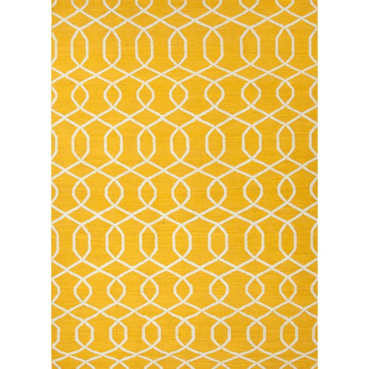Jaipur Rugs RUG102741 Flat-Weave Geometric Pattern Wool Yellow/Ivory Area Rug ( 8x10 )