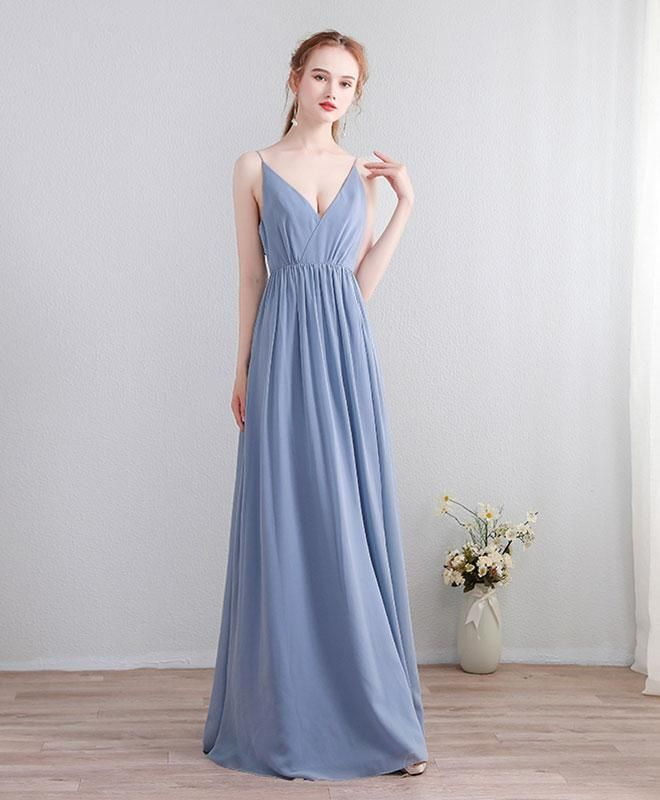 67d634b380 Elegant blue chiffon prom dress