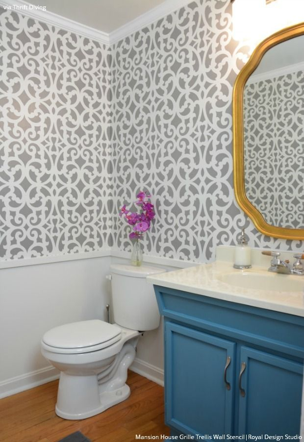 how to makeover your bathroom with modern trellis wallpaper wall stencils from royal design studio - Wallpaper Wall Designs