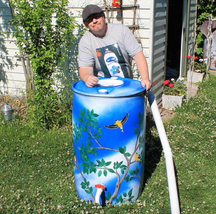 """-SOLD- Rain barrel #001 """"The Cardinal's Tree"""" Photo #1 of many. Complete with 5' of overflow tubing, colored cleanable aquarium gravel filter system & all hardware parts are replaceable. One of a kind, hand painted with Krylon Fusion paint for plastic."""