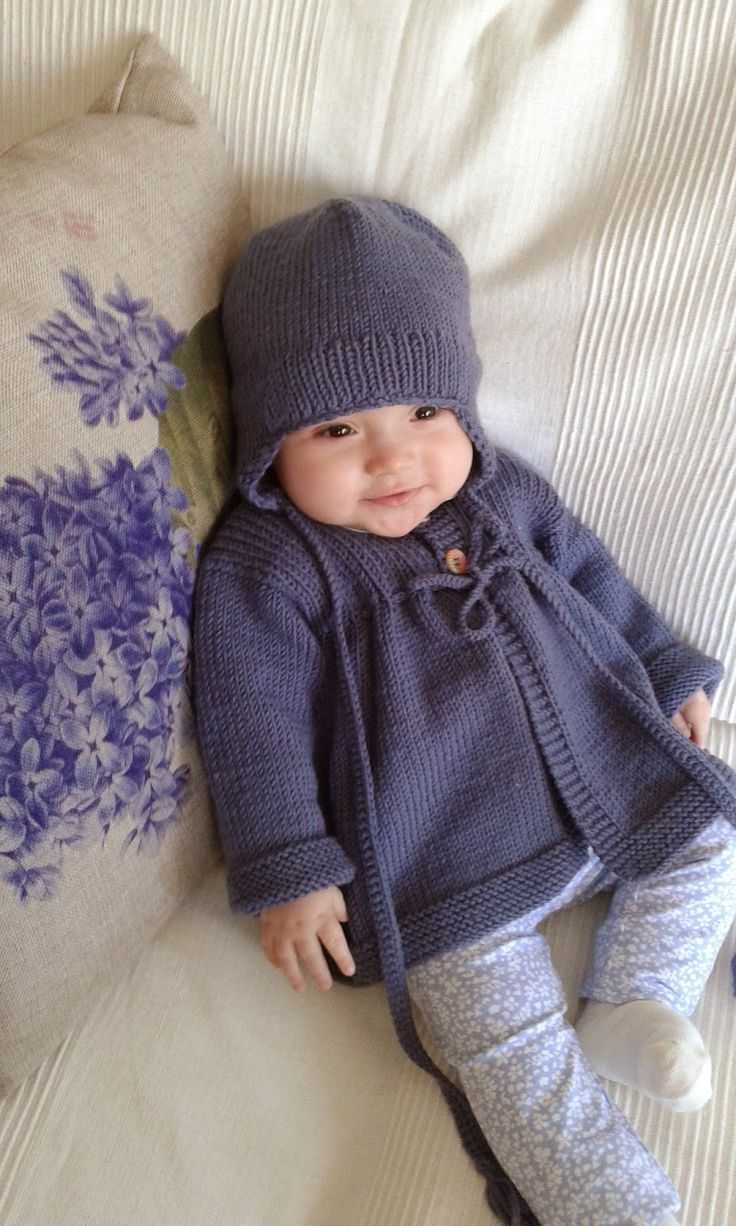 Knit baby cardigan and hat